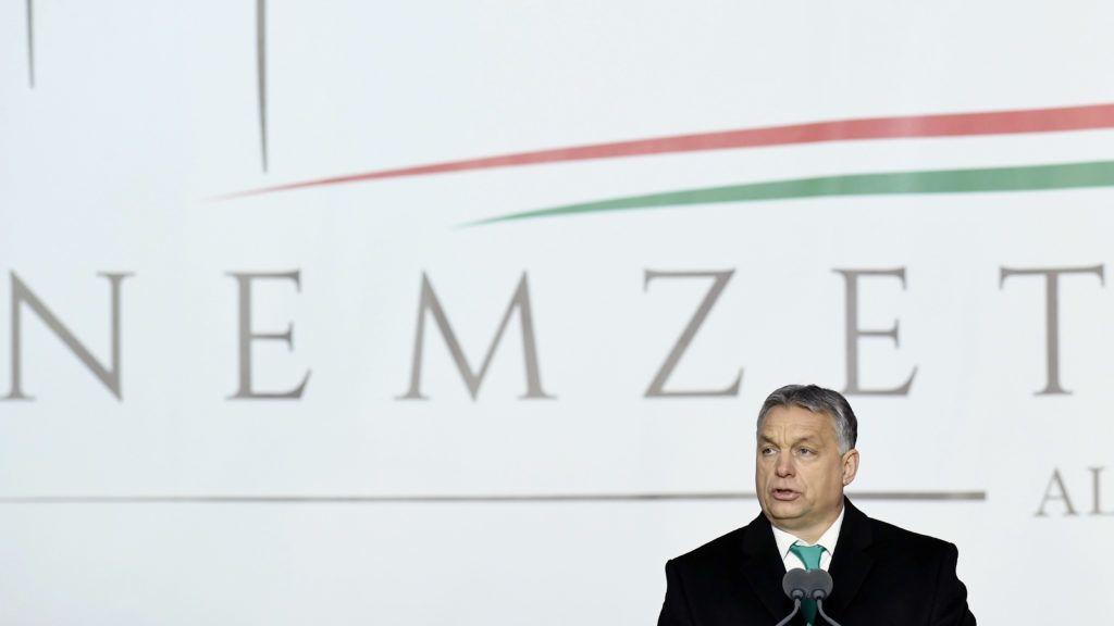 Budapest, 2018. február 24. Orbán Viktor miniszterelnök beszédet mond a felújított Nemzeti Lovarda avatásán a Kerepesi úton 2018. február 24-én. MTI Fotó: Koszticsák Szilárd