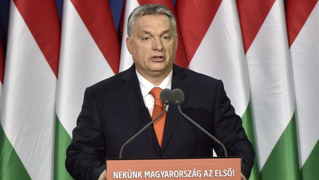 Budapest, 2018. február 18. Orbán Viktor miniszterelnök hagyományos évértékelõ beszédét tartja a Várkert Bazárban 2018. február 18-án. MTI Fotó: Máthé Zoltán
