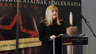 Budapest, 2018. február 25. Schmidt Mária, a Terror Háza Múzeum fõigazgatója beszédet mond a kommunizmus áldozatainak emléknapján a múzeumban rendezett megemlékezésen 2018. február 25-én. MTI Fotó: Bruzák Noémi