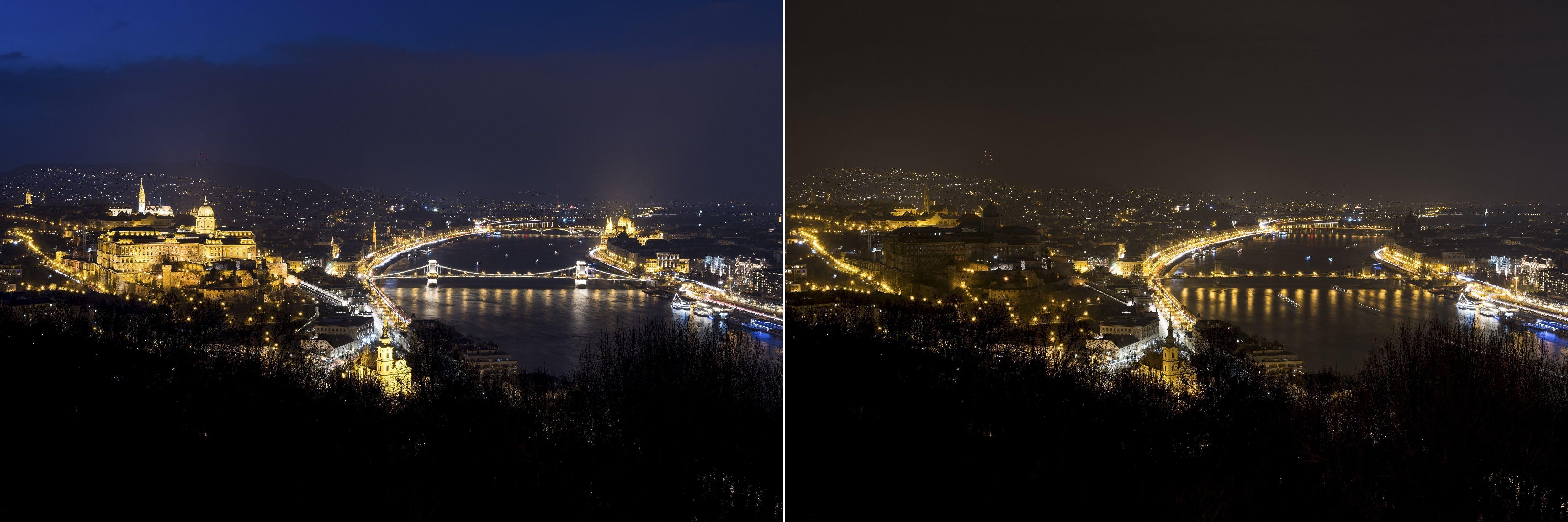 Budapest, 2018. március 24. Kombóképen Budapest a Föld órája elnevezésû akció elõtt kivilágítva (balra), és az akció idején, kivilágítatlanul 2018. március 24-én este. A Természetvédelmi Világalap (WWF) kezdeményezésére a 2007-ben indult világméretû akcióban részt vevõ városokban március utolsó szombatján este fél kilenc és fél tíz között egy órára lekapcsolják a világítást, hogy felhívják a figyelmet a Földet fenyegetõ éghajlatváltozás veszélyeire. MTI Fotó: Mónus Márton