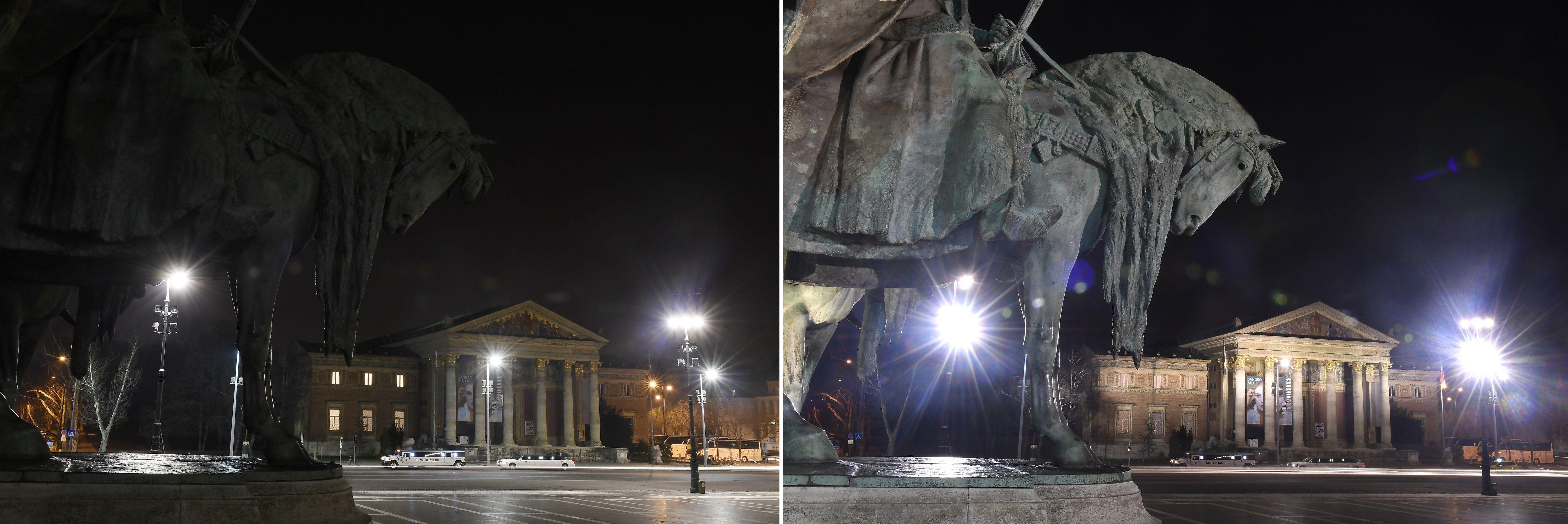 Budapest, 2018. március 24. Kombóképen a Mûcsarnok a Föld órája elnevezésû akció elõtt kivilágítva (jobbra), és az akció idején, kivilágítatlanul 2018. március 24-én este. A Természetvédelmi Világalap (WWF) kezdeményezésére a 2007-ben indult világméretû akcióban részt vevõ városokban március utolsó szombatján este fél kilenc és fél tíz között egy órára lekapcsolják a világítást, hogy felhívják a figyelmet a Földet fenyegetõ éghajlatváltozás veszélyeire. MTI Fotó: Kovács Tamás