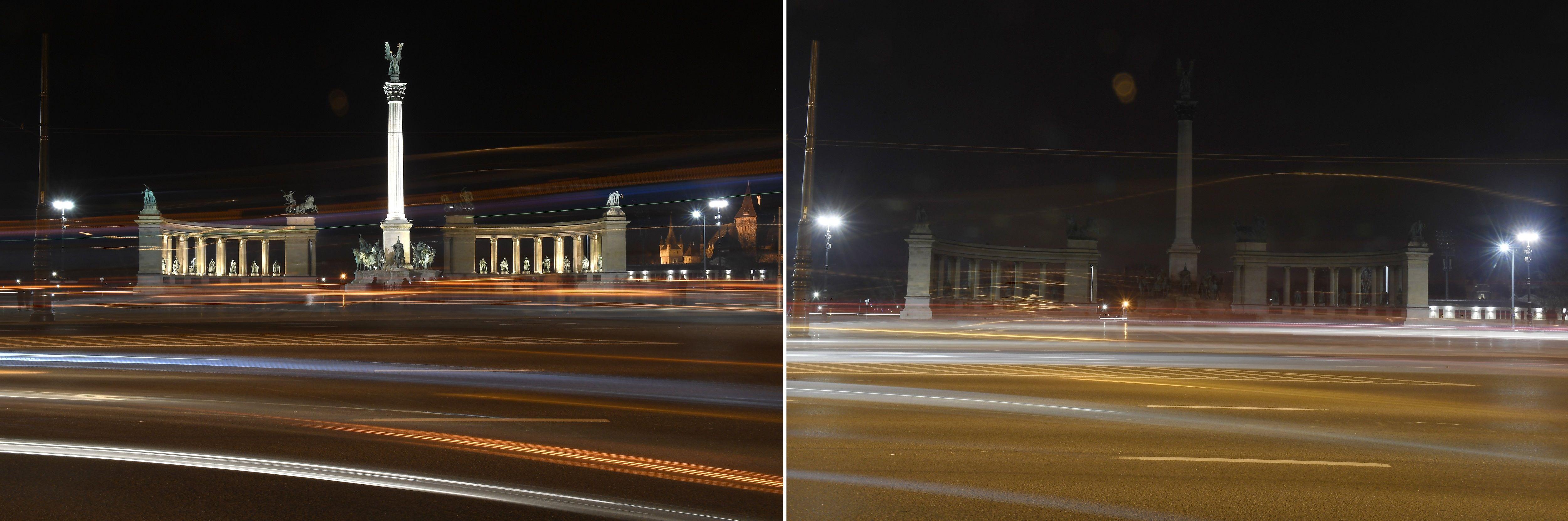 Budapest, 2018. március 24. Kombóképen Millenniumi emlékmû a Föld órája elnevezésû akció elõtt kivilágítva (balra), és az akció idején, kivilágítatlanul 2018. március 24-én este. A Természetvédelmi Világalap (WWF) kezdeményezésére a 2007-ben indult világméretû akcióban részt vevõ városokban március utolsó szombatján este fél kilenc és fél tíz között egy órára lekapcsolják a világítást, hogy felhívják a figyelmet a Földet fenyegetõ éghajlatváltozás veszélyeire. MTI Fotó: Kovács Tamás