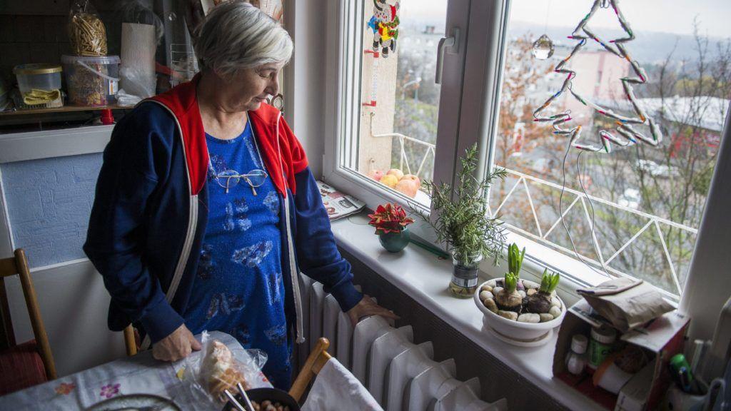 Komló, 2014. december 2. Hermeszné Gyenes Éva áll a radiátor mellett komlói lakásában 2014. december 2-án. Egy 300 milliméter vastagságú fõvezeték kilyukadása miatt a város ötezer fogyasztója közül négyezerhez, köztük számos közintézményhez nem jut el a meleg víz. MTI Fotó: Sóki Tamás