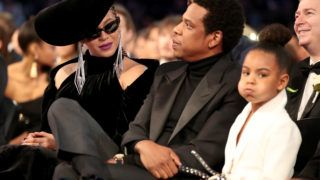 NEW YORK, NY - JANUARY 28: (L-R) Beyonce, Jay-Z and Blue Ivy Carter attends the 60th Annual GRAMMY Awards at Madison Square Garden on January 28, 2018 in New York City.  (Photo by Christopher Polk/Getty Images for NARAS)