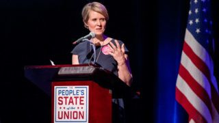 NEW YORK, NY - JANUARY 29:  Cynthia Nixon speaks onstage during The People's State Of The Union at Town Hall on January 29, 2018 in New York City.  (Photo by Roy Rochlin/Getty Images)