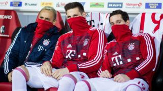 FREIBURG IM BREISGAU, GERMANY - MARCH 04: Rafinha, Niklas Suele and Sebastian Rudy of Muenchen (L-R) pose for a picture during the Bundesliga match between Sport-Club Freiburg and FC Bayern Muenchen at Schwarzwald-Stadion on March 4, 2018 in Freiburg im Breisgau, Germany. (Photo by Simon Hofmann/Bongarts/Getty Images)