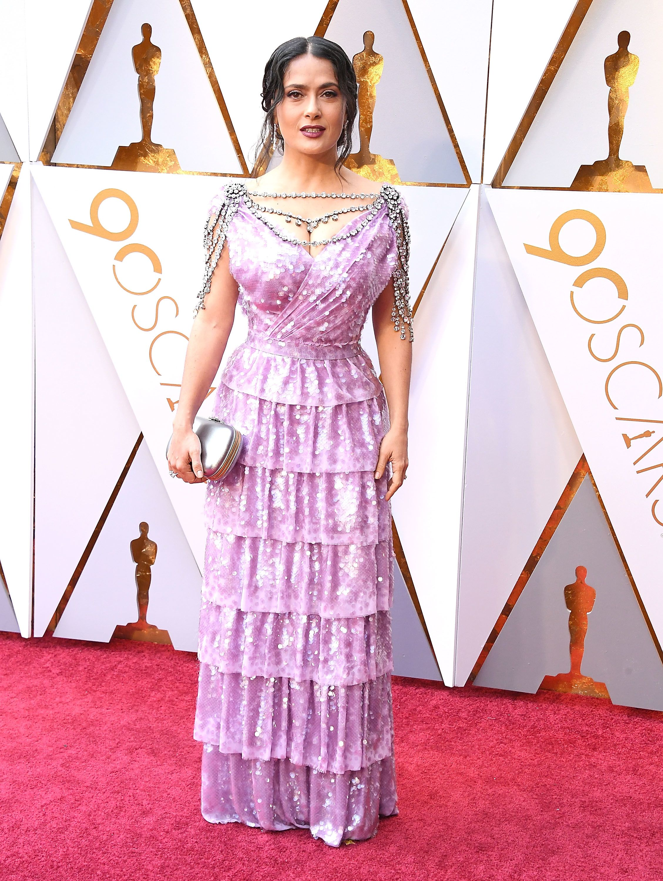 HOLLYWOOD, CA - MARCH 04: Salma Hayek arrives at the 90th Annual Academy Awards at Hollywood & Highland Center on March 4, 2018 in Hollywood, California. (Photo by Steve Granitz/WireImage)