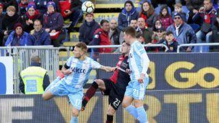 CAGLIARI, ITALY - MARCH 11: Ciro Immobile of Lazio scored the goal 2-2 during the serie A match between Cagliari Calcio and SS Lazio at Stadio Sant'Elia on March 11, 2018 in Cagliari, Italy.  (Photo by Enrico Locci/Getty Images)