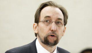 Genf, 2018. március 7. Zeid Raad al-Husszein, az ENSZ emberi jogi fõbiztosa ismerteti éves jelentését a világszervezet Emberi Jogi Tanácsának tavaszi ülésszakán a genfi ENSZ-palotában 2018. március 7-én. (MTI/EPA/Salvatore Di Nolfi)