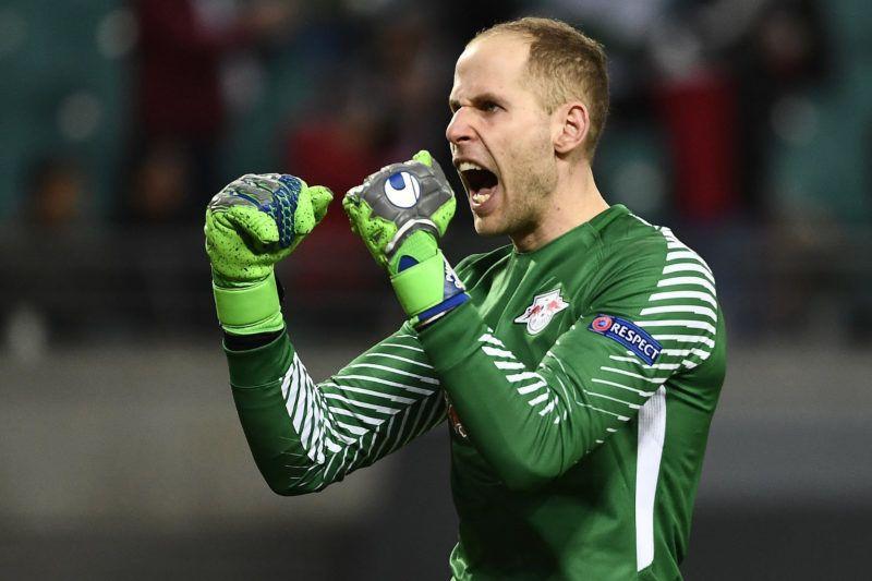 Lipcse, 2018. március 9.Gulácsi Péter, a német RB Leipzig kapusa ünnepli a csapata gólját az orosz Zenit együttese ellen a labdarúgó Európa Liga nyolcaddöntőjében játszott első mérkőzésen Lipcsében 2018. március 8-án. A lipcsei csapat 2-1-re nyert. (MTI/EPA/Filip Singer)