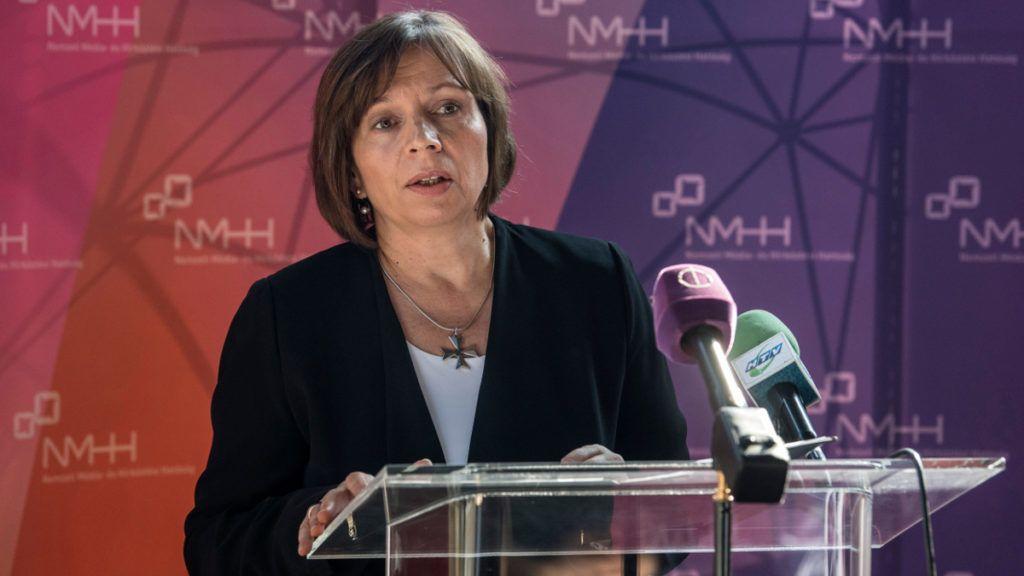 Karas Monika, a Nemzeti Média- és Hírközlési Hatóság elnöke beszédet mond a Budapesti Műszaki Egyetem médiaműhelyének átadásán az egyetem E épületében 2017. október 19-én. MTI Fotó: Szigetváry Zsolt