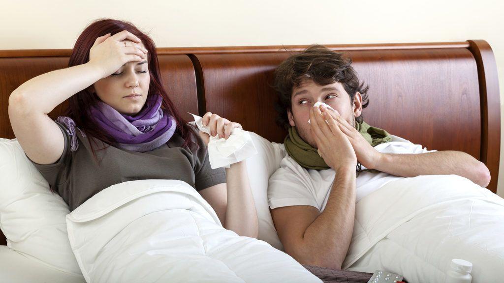 Couple suffering  flu
