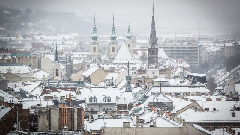 Snowy Rooftops in Budapest