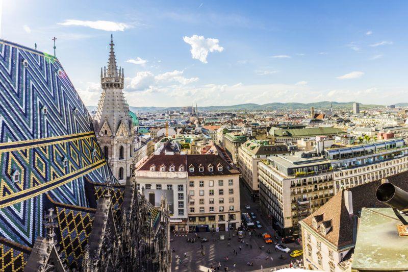 Panoramic view of Vienna city on daytime in Austria