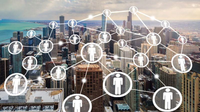 connection concept by people icon on chicago city
