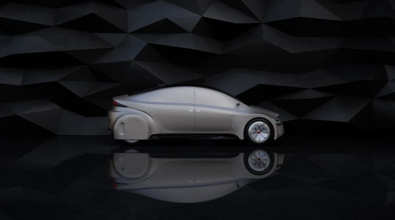 Side view of silver autonomous car on abstract background. 3D rendering image.