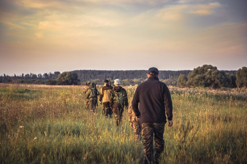Group of men in a row going away through rural field at sunset during hunting season in countryside