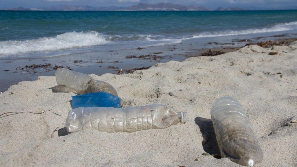 Plastic bottles on the shore of a Mediterranean beach.