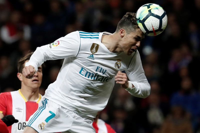 MADRID, SPAIN - MARCH 18: Cristiano Ronaldo of Real Madrid in action during the La Liga soccer match between Real Madrid and Girona at Santiago Bernabeu Stadium in Madrid, Spain on March 18, 2018. Burak Akbulut / Anadolu Agency