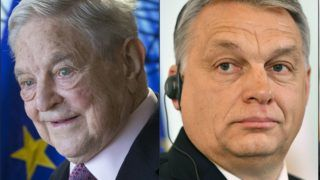 (COMBO) This combination of pictures created on April 03, 2018 shows prime minister candidates in the upcoming elections (L to R) Gergely Karacsony of MSZP, the Hungarian Socialist Party, George Soros, Founder and Chairman of the Open Society Foundations, Hungarian Prime Minister Viktor Orban of the FIDESZ party and leader of far-right 'Jobbik' (Better), Gabor Vona.     Hungarians vote in elections on April 8, 2018, that polls suggest will give Prime Minister Viktor Orban, a fierce nationalist and opponent of immigration, a third consecutive term.    / AFP PHOTO / AFP PHOTO AND POOL