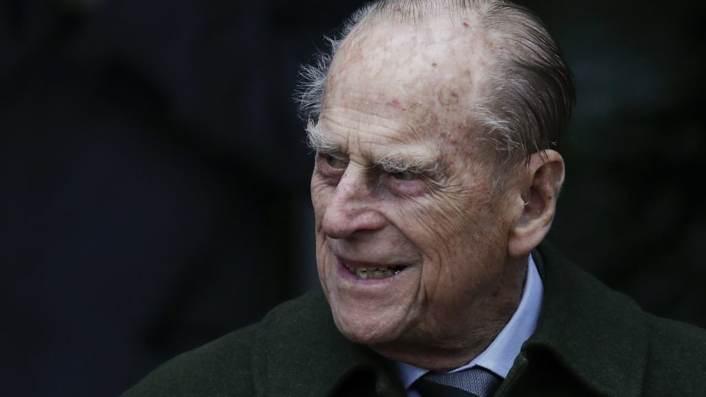 """(FILES) In this file photo taken on December 25, 2017 Britain's Prince Philip, Duke of Edinburgh leaves after attending Royal Family's traditional Christmas Day church service at St Mary Magdalene Church in Sandringham, Norfolk, eastern England. Queen Elizabeth II's 96-year-old husband Prince Philip was admitted to hospital in London on April 3, 2018, for planned surgery on his hip, Buckingham Palace said in a statement. """"His Royal Highness The Duke of Edinburgh was admitted to King Edward VII Hospital in London this afternoon, for planned surgery on his hip which will take place tomorrow,"""" it said. / AFP PHOTO / Adrian DENNIS"""