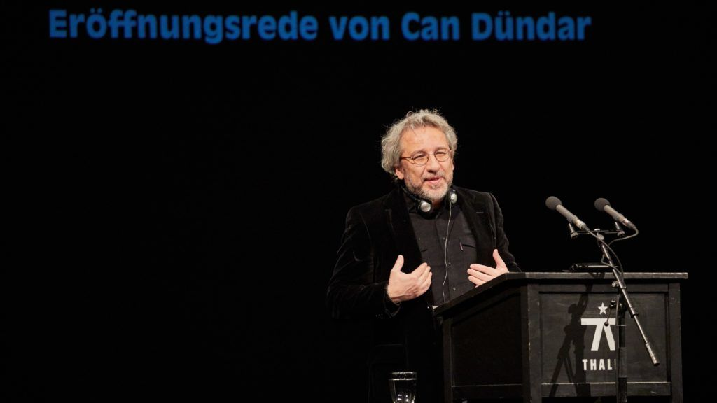 Can Dündar, Turkish journalist and former editor-in-chief of the newspaper 'Cumhuriyet', speaks at the Thalia Theatre in Hamburg, Germany, 21 January 2018. In the coming weeks, the theatre will host a festival honouring German playwright G. E. Lessing. Photo: Georg Wendt/dpa