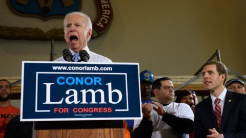 PITTSBURGH, PA - MARCH 6: Former Vice President Joe Biden speaks at a rally in support of Democratic congressional candidate Conor Lamb Tuesday March 6, 2018 at the Union Carpenters Training Center in Pittsburgh. Lamb is running in a tight race for the vacated seat of Congressman Tim Murphy against Rick Saccone. President Donald Trump plans to visit Pennsylvania's 18th Congressional District March 10, 2018 in a bid to help Saccone.   Jeff Swensen/Getty Images/AFP