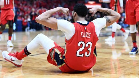 NEW ORLEANS, LA - APRIL 21: Anthony Davis #23 of the New Orleans Pelicans reacts to a foul by the Portland Trail Blazers during the second half of Game Four of the first round of the Western Conference playoffs at the Smoothie King Center on April 21, 2018 in New Orleans, Louisiana. The Pelicans defeated the Trail Blazers 131-123 to sweep the series 4-0. NOTE TO USER: User expressly acknowledges and agrees that, by downloading and or using this photograph, User is consenting to the terms and conditions of the Getty Images License Agreement.   Stacy Revere/Getty Images/AFP