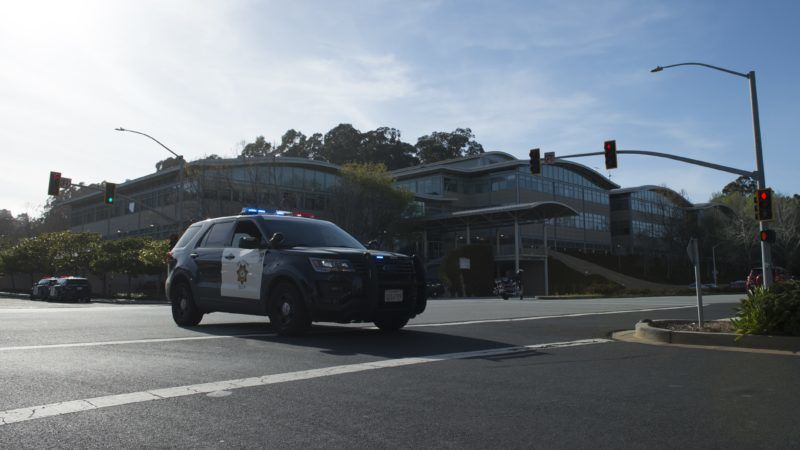 SAN BRUNO, UNITED STATES - APRIL 3: Security forces inspect the scene after they responded to an active shooter at YouTube's California headquarters in San Bruno, California, United States on April 3, 2018. A woman shot and wounded at least four people before possibly taking her own life at YouTube's California headquarters Tuesday, according to police.  Yichuan Cao / Anadolu Agency