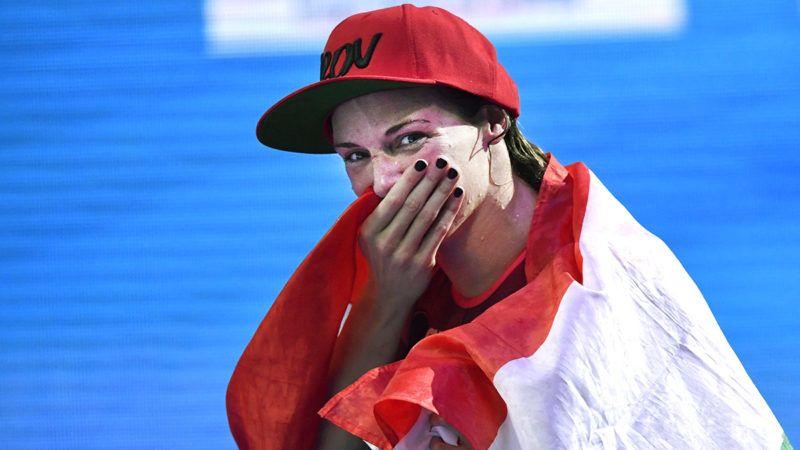 Budapest, 2017. július 30.A győztes Hosszú Katinka a női 400 méteres vegyesúszás döntője után a 17. vizes világbajnokságon a Duna Arénában 2017. július 30-án.MTI Fotó: Illyés Tibor