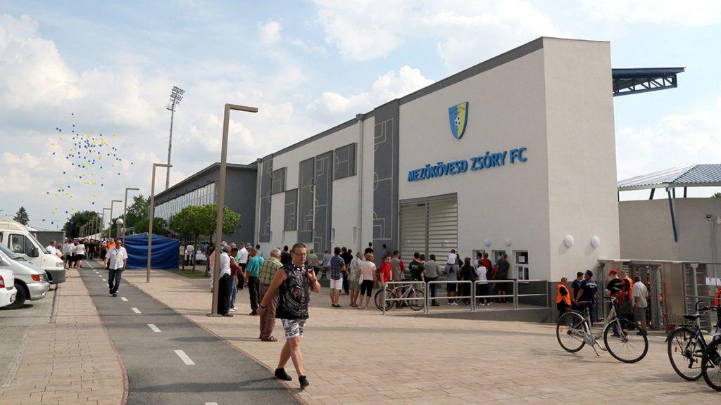 Mezőkövesd, 2016. június 5.A Mezőkövesd Zsóry FC felújított stadionjának bejárata az avatóünnepség napján, 2016. június 5-én.MTI Fotó: Vajda János