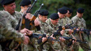 Önkéntes területvédelmi tartalékos katonák ünnepélyes eskütétele