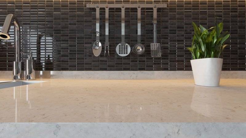 black ceramic modern kitchen design background with kitchen marble desk space for your design and montage product