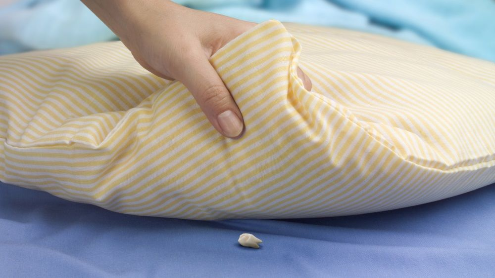 """Woman""""s hand lifting a pillow showing a tooth waiting for the tooth fairy  Raton Perez in Spain. Petite Souris in France."""