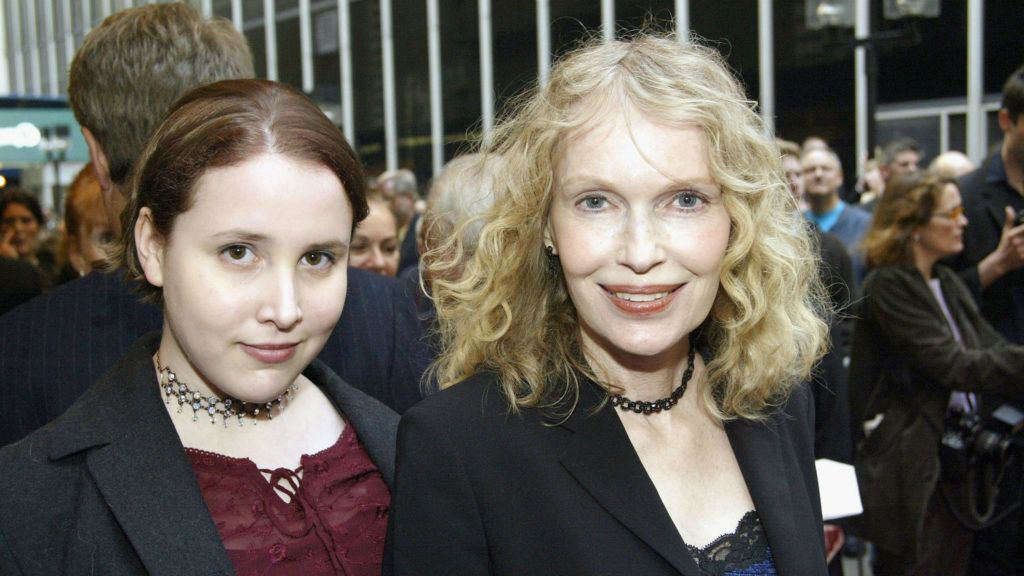 """NEW YORK - MAY 1:  Mia Farrow (R) and daughter Dylan Farrow (L) arrive at the Opening Night of """"Gypsy"""" on Broadway at The Shubert Theatre on May 1, 2003 in New York City. (Photo By Bruce Glikas/Getty Images)"""