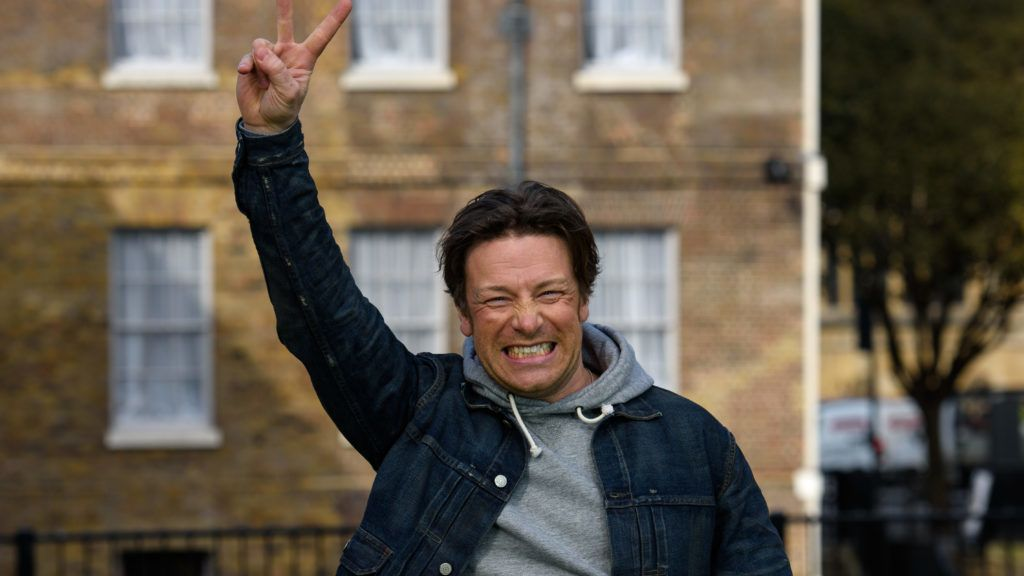 LONDON, ENGLAND - MARCH 16: Jamie Oliver poses as he is interviewed in Westminister after British Chancellor of the Exchequer, George Osborne reveals the 2016 budget statement on March 16, 2016 in London, England. Today's budget will set the expenditure of the public sector for the year beginning on April 1st 2016 against the revenues gathered by HM Treasury.  (Photo by Ben Pruchnie/Getty Images)