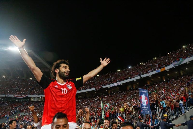 Egypts Mohamed Salah celebrating World Cup access and victory over Congo during the 2018 World Cup group E qualifying soccer match at Borg El Arab Stadium in Alexandria, Egypt, Sunday, Oct. 8, 2017. (Photo by Islam Safwat/NurPhoto via Getty Images)