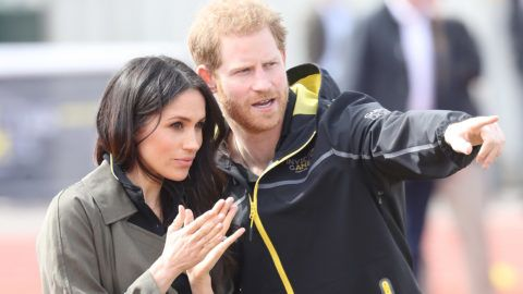 BATH, ENGLAND - APRIL 06:  Meghan Markle and Prince Harry, Patron of the Invictus Games Foundation attend the UK Team Trials for the Invictus Games Sydney 2018 at the University of Bath Sports Training Village on April 6, 2018 in Bath, England. The Invictus Games Sydney 2018 will take place from 20-27th October and will see over 500 competitors from 18 nations compete in 11 adaptive sports.  (Photo by Chris Jackson/Getty Images)