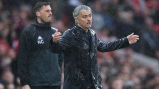 MANCHESTER, ENGLAND - APRIL 15:  Jose Mourinho, Manager of Manchester United reacts during the Premier League match between Manchester United and West Bromwich Albion at Old Trafford on April 15, 2018 in Manchester, England.  (Photo by Laurence Griffiths/Getty Images)
