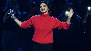 INGLEWOOD, CA - APRIL 19:  Selena Gomez speaks onstage at WE Day California at The Forum on April 19, 2018 in Inglewood, California.  (Photo by Allen Berezovsky/FilmMagic)