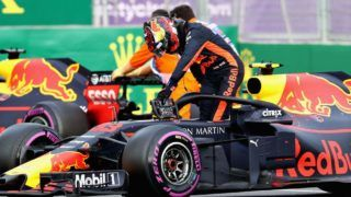 BAKU, AZERBAIJAN - APRIL 29:  Max Verstappen of Netherlands and Red Bull Racing climbs from his car after retiring during the Azerbaijan Formula One Grand Prix at Baku City Circuit on April 29, 2018 in Baku, Azerbaijan.  (Photo by Mark Thompson/Getty Images)