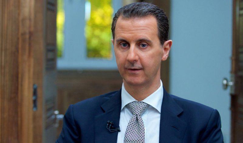 Damaszkusz, 2017. április 13. A SANA szíriai állami hírügynökség által 2017. április 13-án közreadott képen Bassár el-Aszad szíriai elnök interjút ad az AFP francia hírügynökségnek Damaszkuszban április 12-én. (MTI/EPA/SANA)