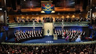 Stockholm, 2017. december 10. A 2017-es Nobel-díjak átadási ünnepsége a stockholmi hangversenyteremben 2017. december 10-én. (MTI/EPA/Fredrik Sandberg)
