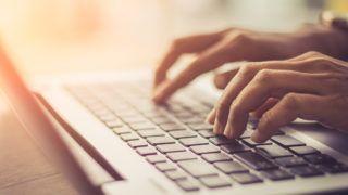 Laptop, Computer, Desktop PC, Human Hand, Office / soft focus picture / Vintage concept