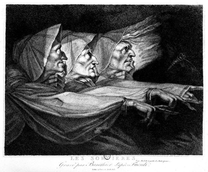 """Les Sorcières. Illustration pour """"Macbeth"""" de William Shakespeare. Gravure de Barathier (1813), d'après une peinture de Johann Heinrich  Füssli ou Fuseli (1741-1825), BN.     RV-330086"""