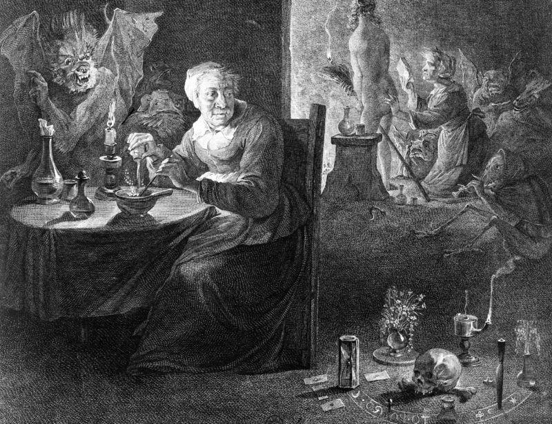 Départ pour le Sabbat. Gravure d'Aliamet d'après D. Teniers. Paris, B.N.F.    FA-36331