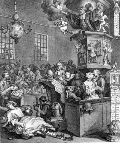 """""""Credulity, superstition and fanaticism"""", caricature sur John Wesley (1703-1791) et G. Whitfield réformateurs religieux anglais méthodistes (1762). Gravure de William Hogarth (1697-1764). B.N.       RV-316058"""