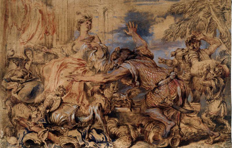 """Odyssee d'Homere : """"Circe la magicienne et les compagnons d'Ulysse transformes en cochons"""" (Homer's Odyssey, the witch Circe and Odysseus (Ulysses)'s companions turned into swine) Dessin de Grechetto (Giovanni Benedetto Castiglione) (1610-1665) Galleria degli Uffizi (Offices) Gabinetto Disegni e Stampe Italie ©Luisa Ricciarini/Leemage"""