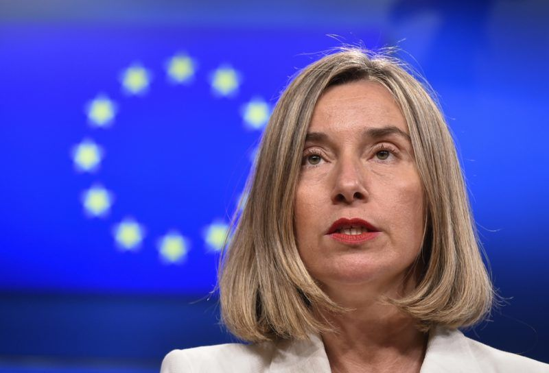 EU foreign policy chief Federica Mogherini gives a press conference after an EU-Tunisia Association Council meeting at the EU headquarters in Brussels on May 15, 2018.  / AFP PHOTO / JOHN THYS