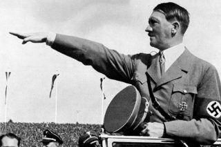 Nazi Germany. Nuremberg Rally. Adolf Hitler (1889-1945), German statesman, and saluting the Hitler Youth with Rudolf Hess (1894-1967). Nuremberg (Germany), 1935.